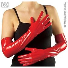 Adult's Red Vinyl Gloves - 56cm Long Pvc Sexy French Maid Fancy Dress