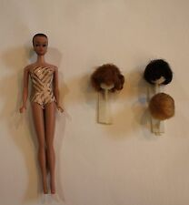 Midge 1962 Barbie Doll Swimsuit 3 Wigs Painted Nails Earrings Stand as is Japan
