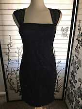 Pre Owned Adriana Papell Woman's Sleeveless Sequin Lace Dress (Size: 4)