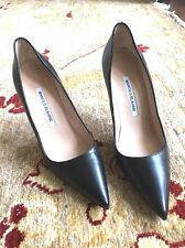"Manolo Blahnik Stiletto In Black Leather  4"" size 37"