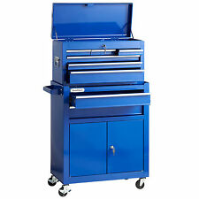 Large Tool Box Top Chest & Rollcab Storage Cabinet Trolley - Blue