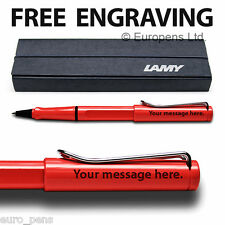 Lamy Safari Rollerball Pen - Personalised ENGRAVED Gift - Red