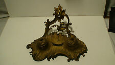 """1850.s LARGE """"AMERICAN EMPIRE """" DOUBLE BRONZE INKWELL [GILDED] NUMBERED"""