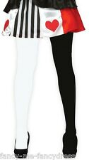 Ladies Black White Circus Clown Mime Artist Halloween Fancy Dress Costume Tights