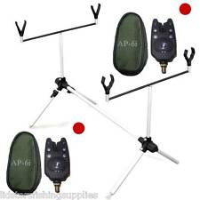 Lineaeffe Carp Fishing Rod Pod Short for 2 Rods + 2 AP6i Red LED bite alarms