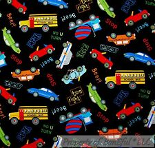 BonEful Fabric FQ Cotton Quilt Black Red Blue CAR Truck School Bus B&W Baby Dot