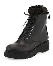 New $790 Prada  Nylon-Leather Lined Leather Combat Boot, Black Lace up Sz 36.5