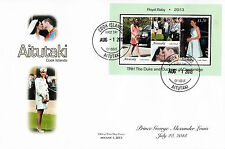 Aitutaki 2013 FDC Royal Baby 3v S/S Cover Prince George William Kate Cambridge