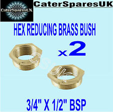 "BRASS HEX REDUCING BUSH 3/4"" X 1/2"" MALE X FEMALE REDUCER GAS PLUMBING SPARES"