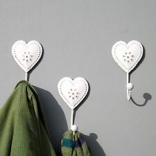 Set of 3 Vintage Distressed look White Heart Metal Coat wall hooks bathroom