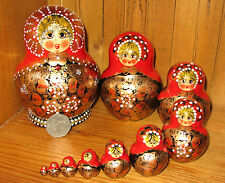 Russian Hand Painted Matryoshka Nesting Doll 10 Piece RED BLACK GOLD Aymasova