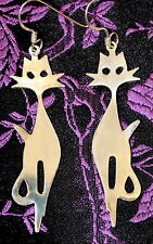 STYLISH VINTAGE 925 STERLING SILVER CAT EARRINGS NEW OLD STOCK RETRO CUTE