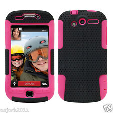 For HTC MyTouch 4G Hybrid Mesh Dual Layer Case Skin Cover Black/Pink