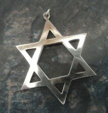 Attractive Large Sterling Silver Star Of David Pendant h/m 1975 London