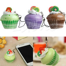 1Pc Kawaii Fruit Cream Cupcake Squishy Bread Keychain Bag Phone Charm Pendant
