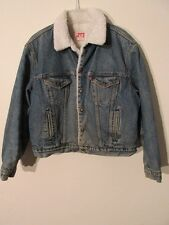 V7821 Levi's Jean Snap Up Sherpa Lined Trucker Grunge USA Made Jacket Men's 46R