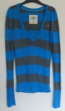 HOLLISTER (Abercrombie & Fitch) grey and blue *Striped V-neck sweater*