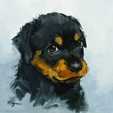 Original Oil painting - portrait of a  rottweiler dog  - by j payne