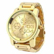 Mens Gold Plated Metal Band Gold Face Fashion Casual Quartz Wrist watches 0123