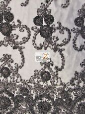 CLASSY ORNAMENTAL SEQUINS DRESS LACE FABRIC - Black - BRIDAL PROM GOWN  FASHION