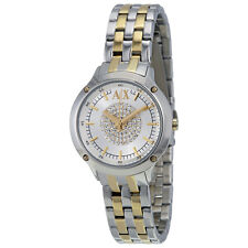 Armani Exchange Silver Crystal Pave Dial Two-tone Ladies Watch AX5424