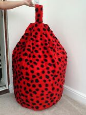 FAUX FUR LARGE SIZE NEW LUXURIOUS ADULTS LADYBIRD BEAN BAG / BEANIE COVER ONLY.