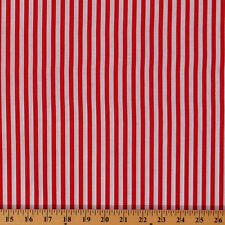 Cotton Festival Red and White Stripe Cotton Fabric Print by Yard D488.01