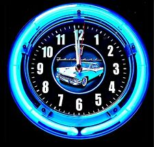 "'56 FORD FAIRLANE LOGO 11"" BLUE NEON CLOCK - NEW !!"