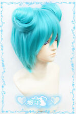 493 Vocaloid Miku DIVA f Cosplay Wig 2buns free shipping+wig cap