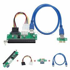 USB 3.0 PCI-E Express 1x To 16x Extender Card Riser Adapter w/ SATA Power Cable