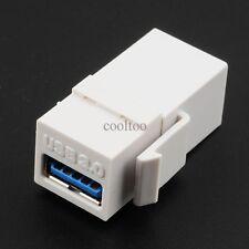White USB 3.0 Keystone Insert Coupler HD Wall Plate Adapter Jack female/female
