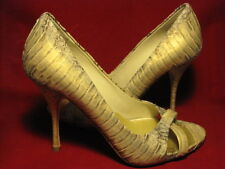 Miu Miu  35 1/2 Gold Bling open toe Snake Pumps 4 inch heels