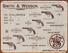 Smith & Wesson Revolvers Novelty TIN SIGN Vintage Gun Shop Firearms Wall Poster