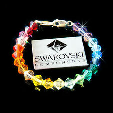 w Swarovski Crystal RAINBOW CHAKRA Medical ID Alert Silver Bracelet ~REPLACEMENT