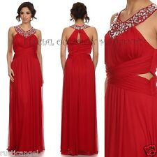 New Long Red Jewels Keyhole Side Maternity Dress Gown Chiffon MEDIUM Baby NWT