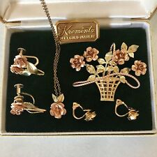 Vintage Krementz Set In Box Flower Parure Brooch Earring Necklace Rose Gold 1955