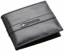 NEW TOMMY HILFIGER RANGER BLACK LEATHER PASSCASE CREDIT CARD BILLFOLD MEN WALLET