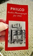 PHILCO RADIO - PHONOGRAPH CONSOLES - 1951 Vintage Advertising Flyer Pamphlet