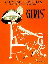 VINTAGE ADVERT THEATRE MISS VIOLET GIRLS ART POSTER PRINT LV4570