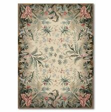 4'x6' STUNNING HANDMADE FRENCH NEEDLEPOINT AREA RUG AUBUSSON WOOL FLAT PILE 4x6