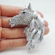 Fashion Style Horse Animal Horsehead Clear Rhinestone Crystal Art Deco Brooch