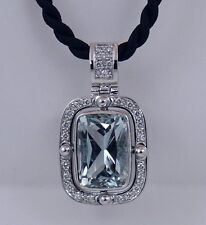 18K White Gold 8.6 ct Aquamarine and Diamond Pendant / Necklace, Handmade