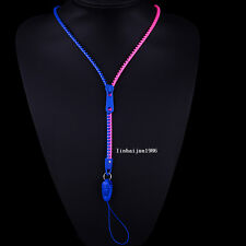 NEW Free shipping zipper necklace Employee's card/key hang rope blue+rosy F74