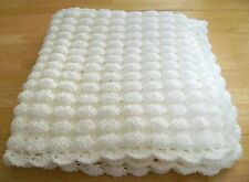 CROCHET WHITE BABY BLANKET SHELL PATTERN HANDMADE BAPTISM THROW AFGHAN LAPGHAN