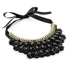 Black Choker Necklace with metallic Beads