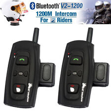 2x 1200M BT Bluetooth Motorcycle Motorbike Helmet Interphone Headset V2 2 Riders