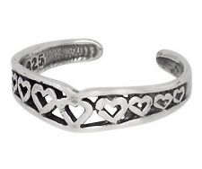 Sterling Silver .925 Hearts, Heart Shape Toe Ring Adjustable Size   Made In USA
