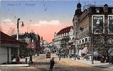 Plauen Vogtland Postplatz Strassenbahn Geschäfte Werbeplakat Rüger 1916