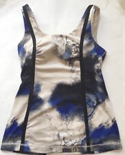 LULULEMON Whole Hearted Tank Top w Pads Milky Way Blue Black Ivory sz 8 EUC Yoga