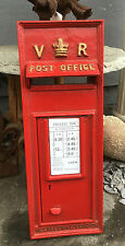 VR RED VICTORIAN POST BOX FRONT IN CAST IRON ROYAL MAIL POST OFFICE BOX Replica